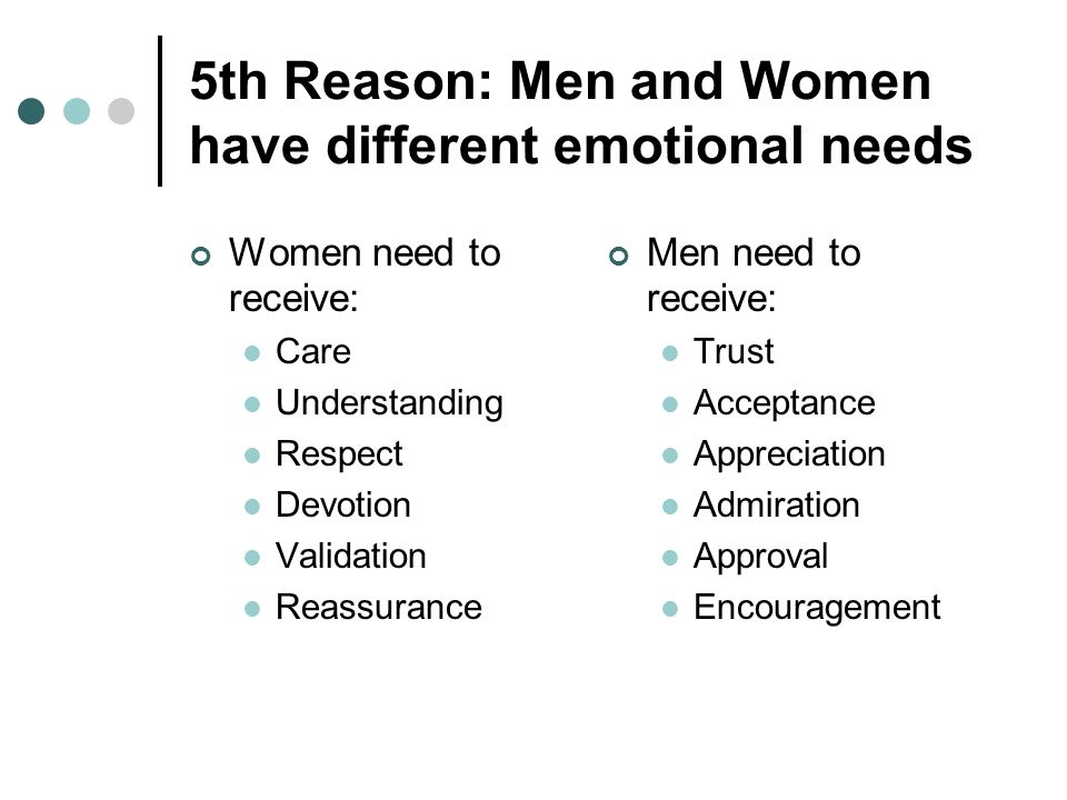 5th Reason: Men and Women have different emotional needs