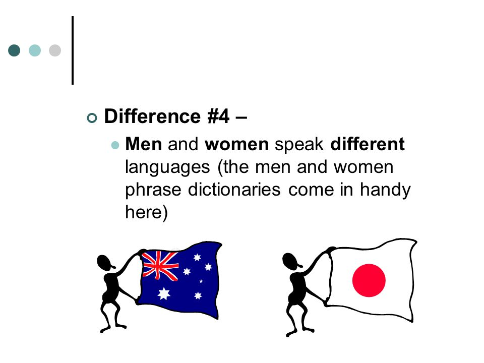 Difference #4 – Men and women speak different languages (the men and women phrase dictionaries come in handy here)