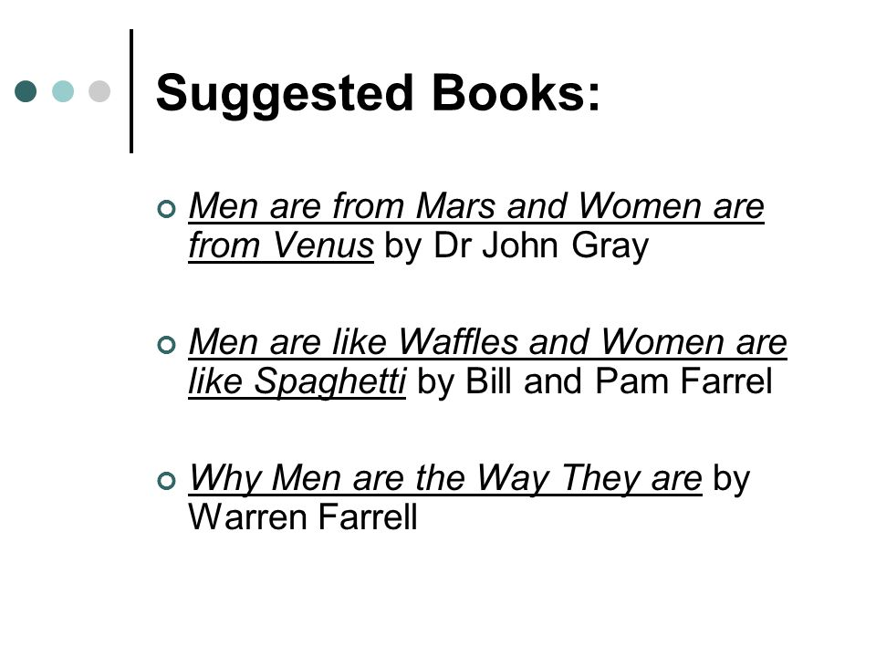 Suggested Books: Men are from Mars and Women are from Venus by Dr John Gray.