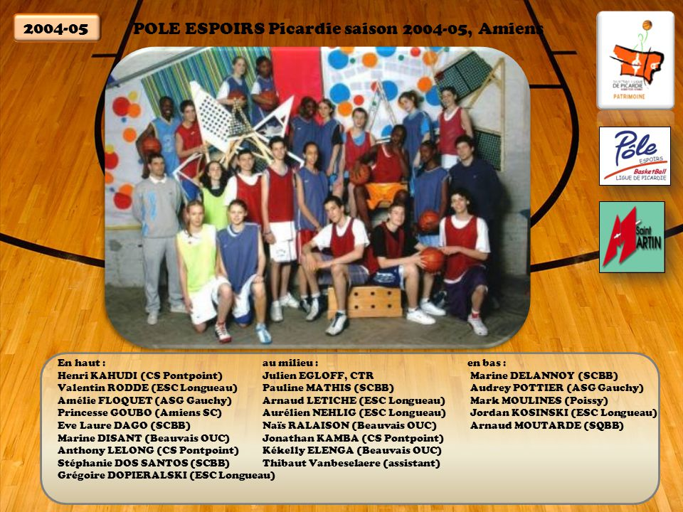 POLE ESPOIRS Picardie saison 2004-05, Amiens