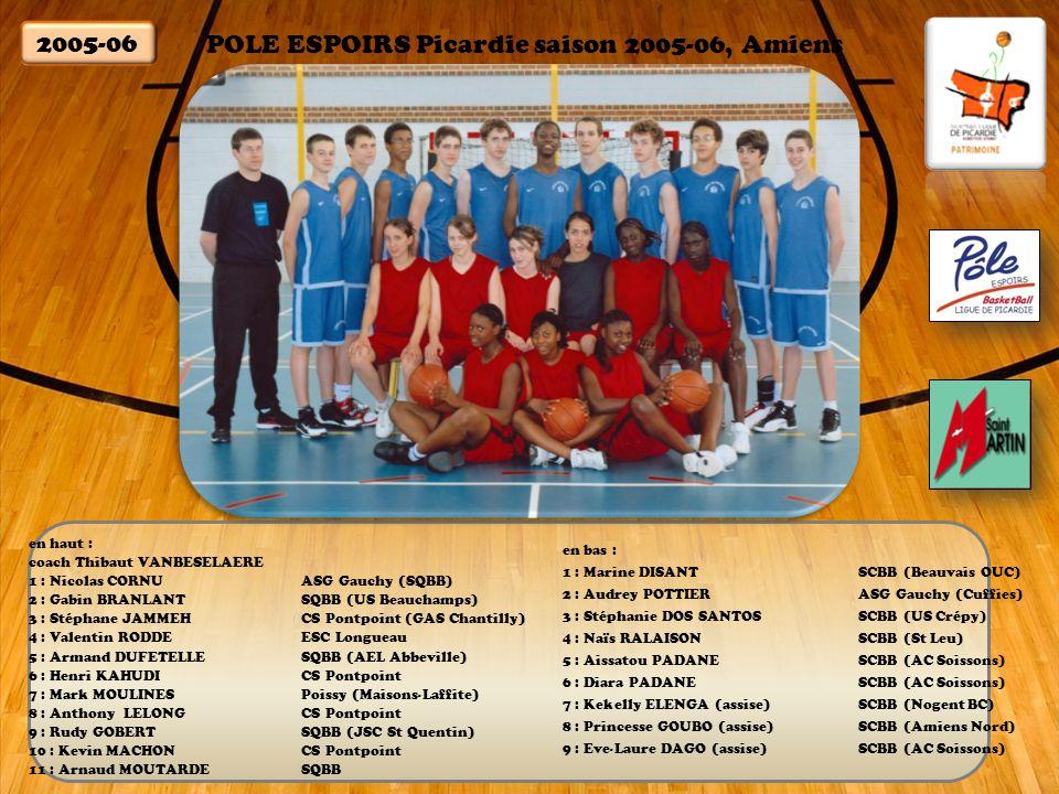 POLE ESPOIRS Picardie saison 2005-06, Amiens