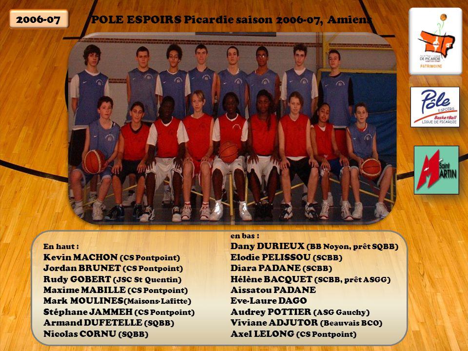 POLE ESPOIRS Picardie saison 2006-07, Amiens