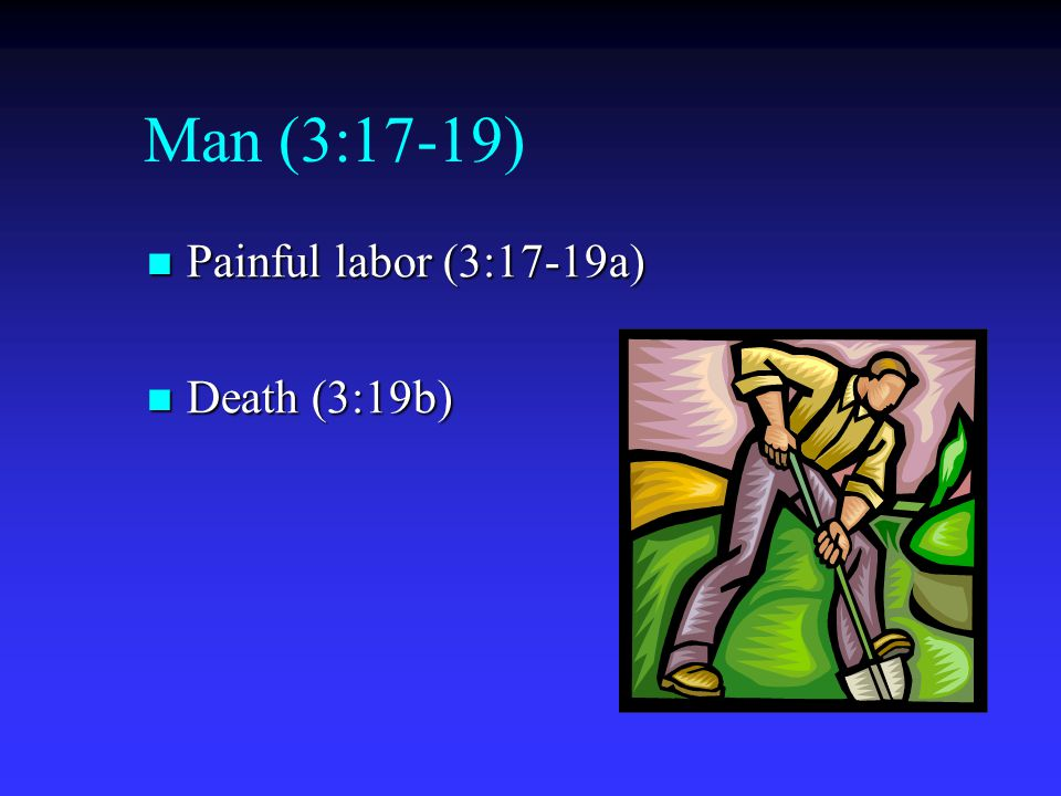 Man (3:17-19) Painful labor (3:17-19a) Death (3:19b)