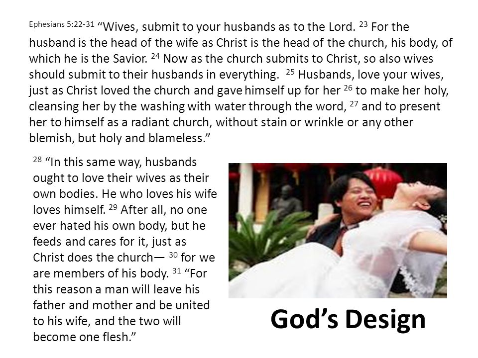 Ephesians 5:22-31 Wives, submit to your husbands as to the Lord