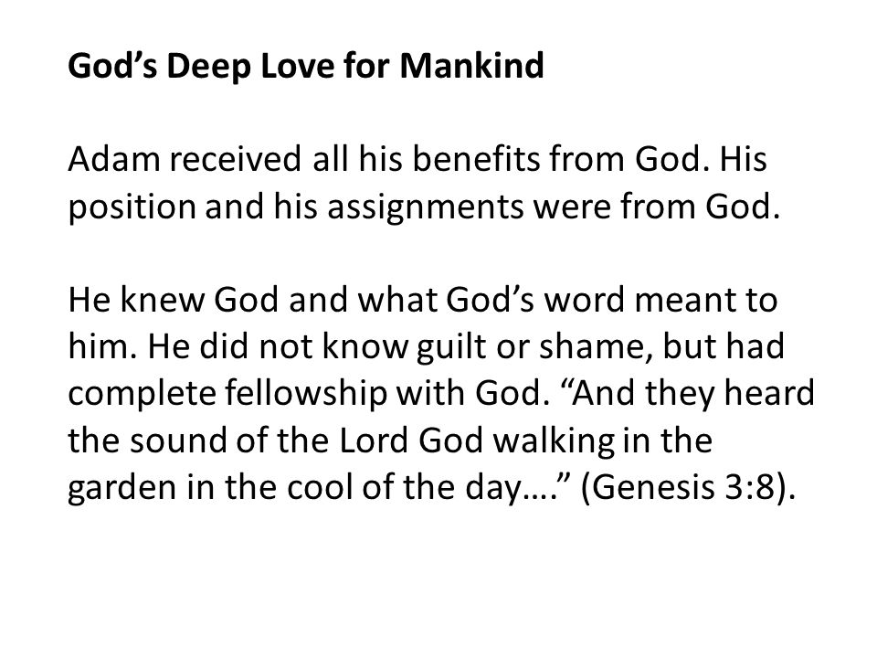God's Deep Love for Mankind