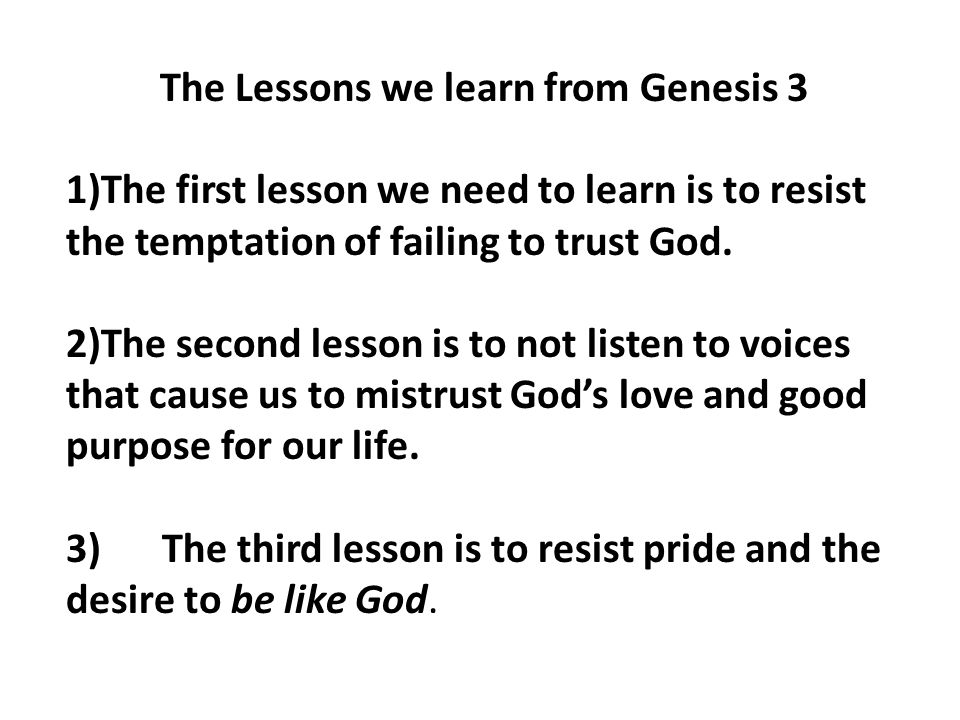 The Lessons we learn from Genesis 3