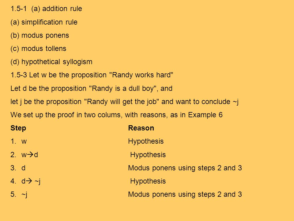 1.5-1 (a) addition rule simplification rule. modus ponens. modus tollens. hypothetical syllogism.