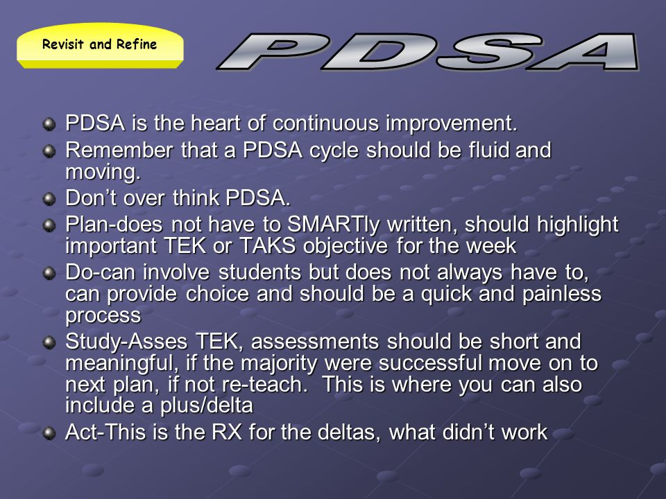 PDSA PDSA is the heart of continuous improvement.