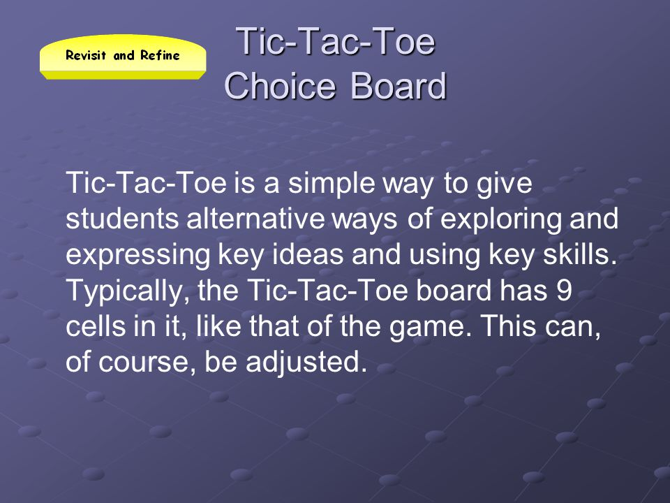 Tic-Tac-Toe Choice Board