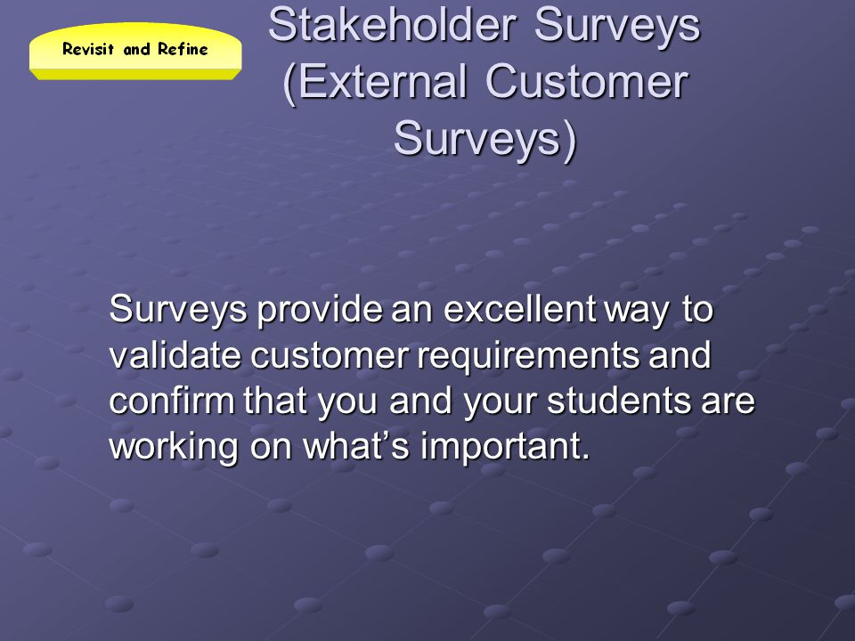 Stakeholder Surveys (External Customer Surveys)