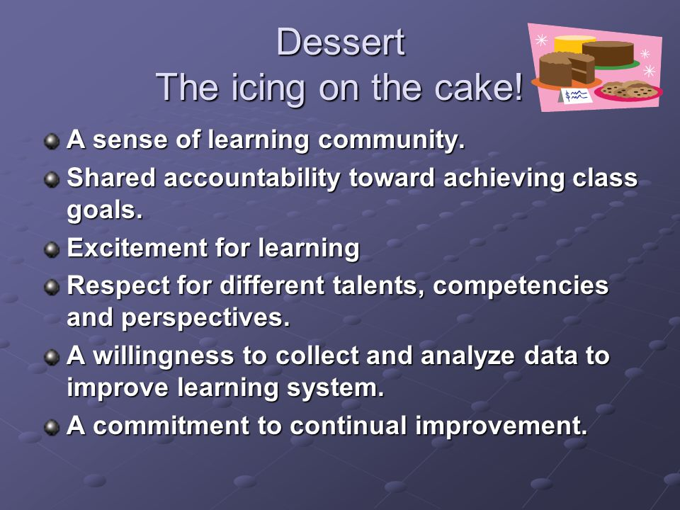Dessert The icing on the cake!