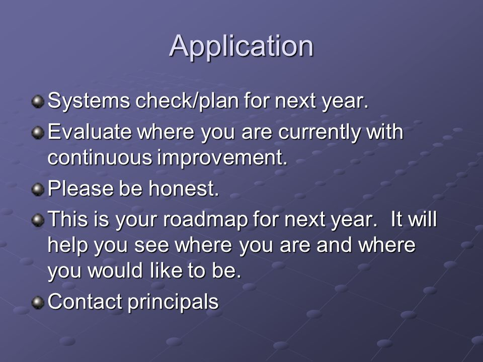 Application Systems check/plan for next year.
