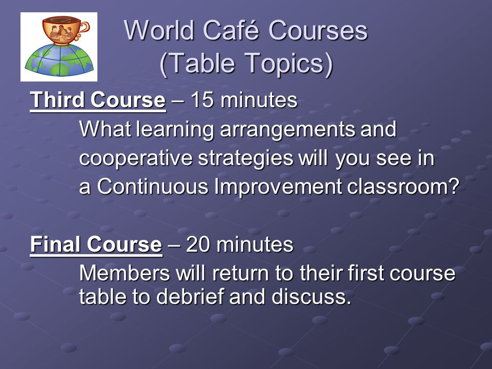 World Café Courses (Table Topics)