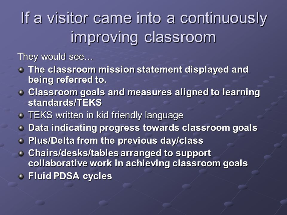 If a visitor came into a continuously improving classroom