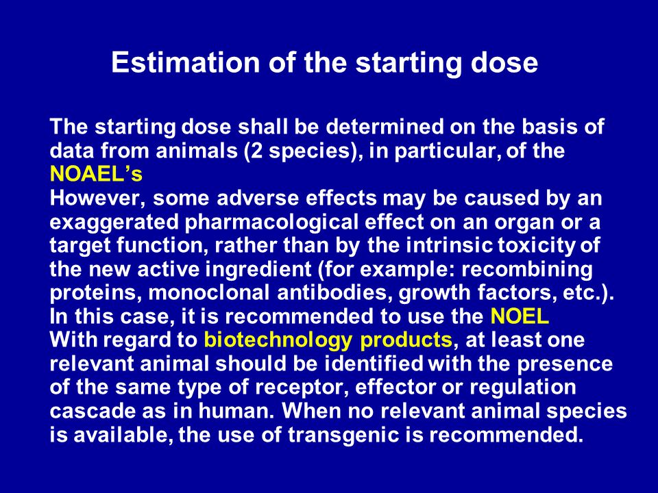Estimation of the starting dose