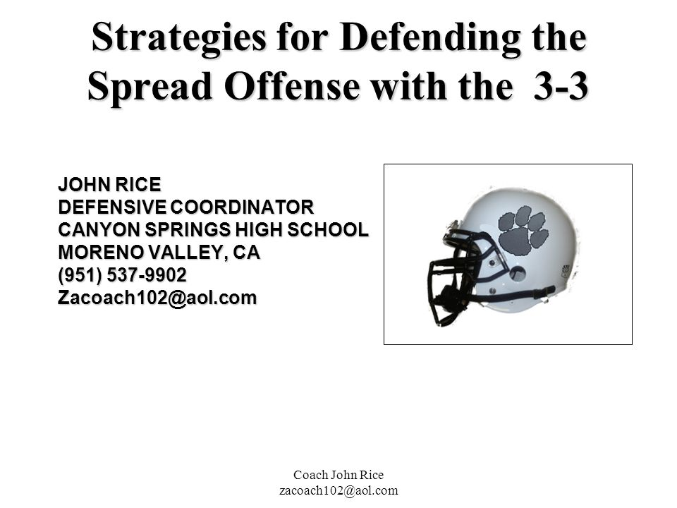 Strategies for Defending the Spread Offense with the 3-3