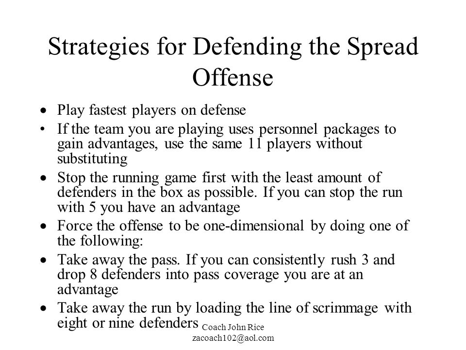 Strategies for Defending the Spread Offense