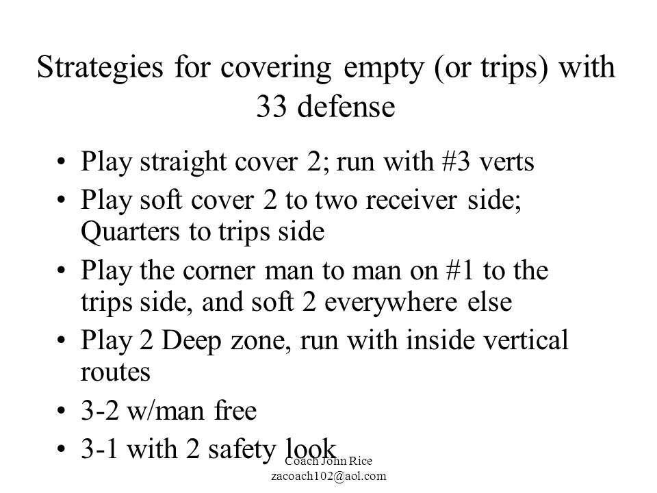 Strategies for covering empty (or trips) with 33 defense