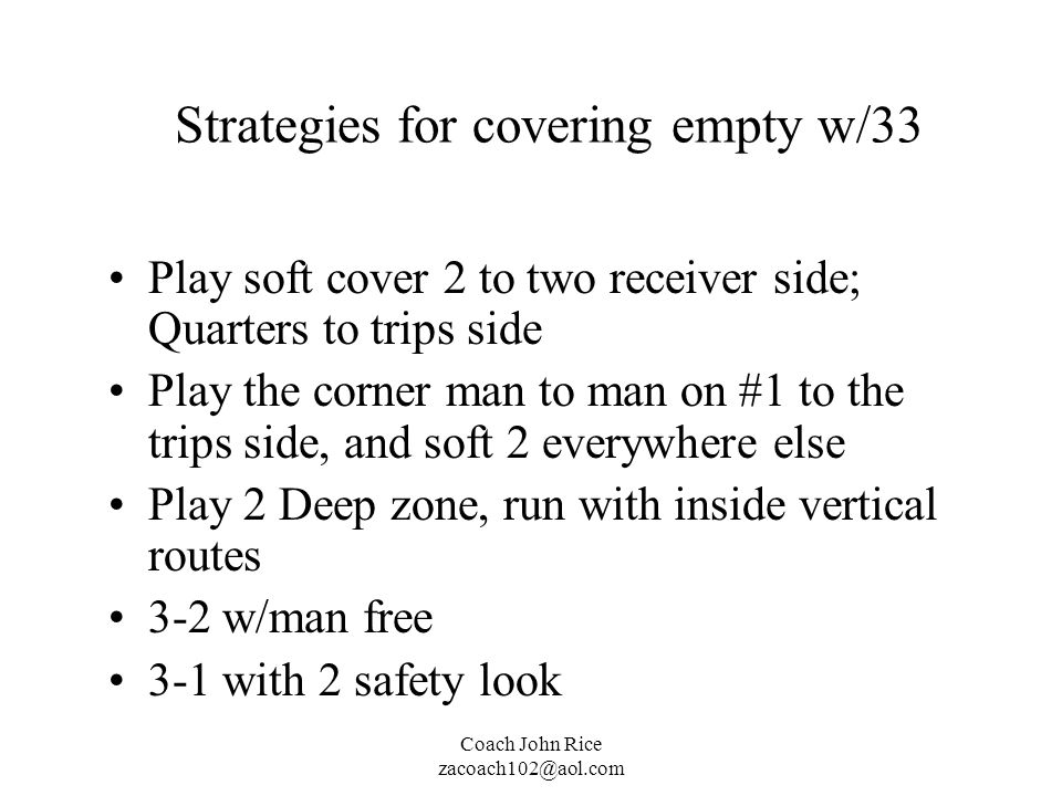 Strategies for covering empty w/33