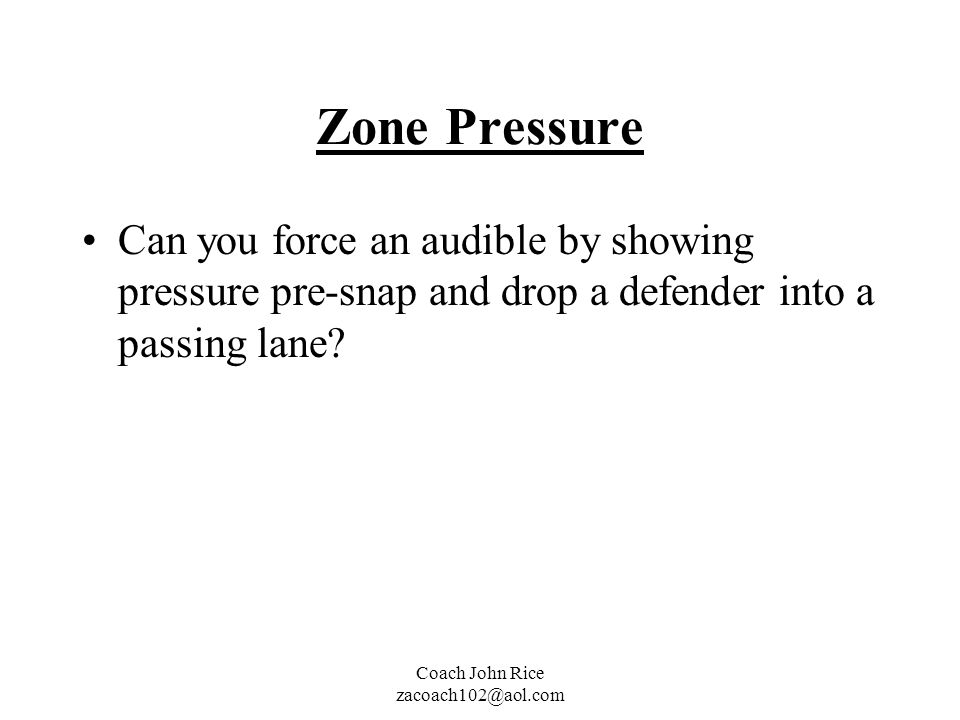 Zone Pressure Can you force an audible by showing pressure pre-snap and drop a defender into a passing lane