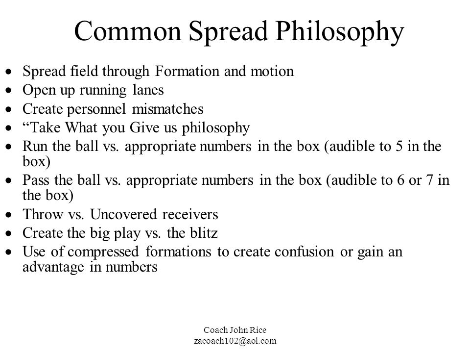 Common Spread Philosophy