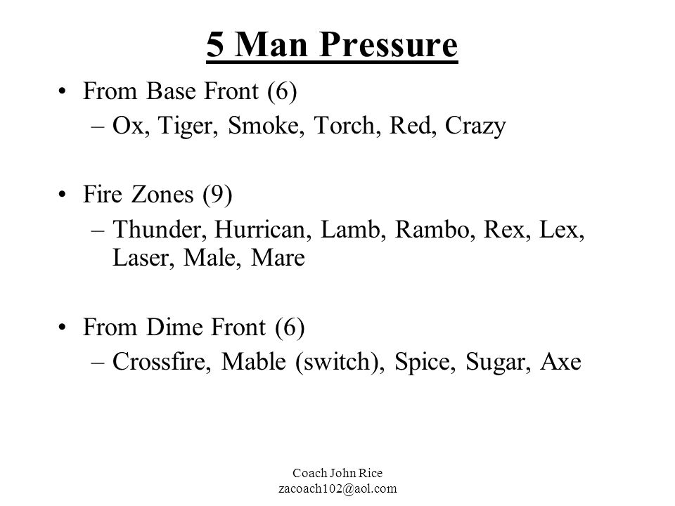 5 Man Pressure From Base Front (6) Ox, Tiger, Smoke, Torch, Red, Crazy