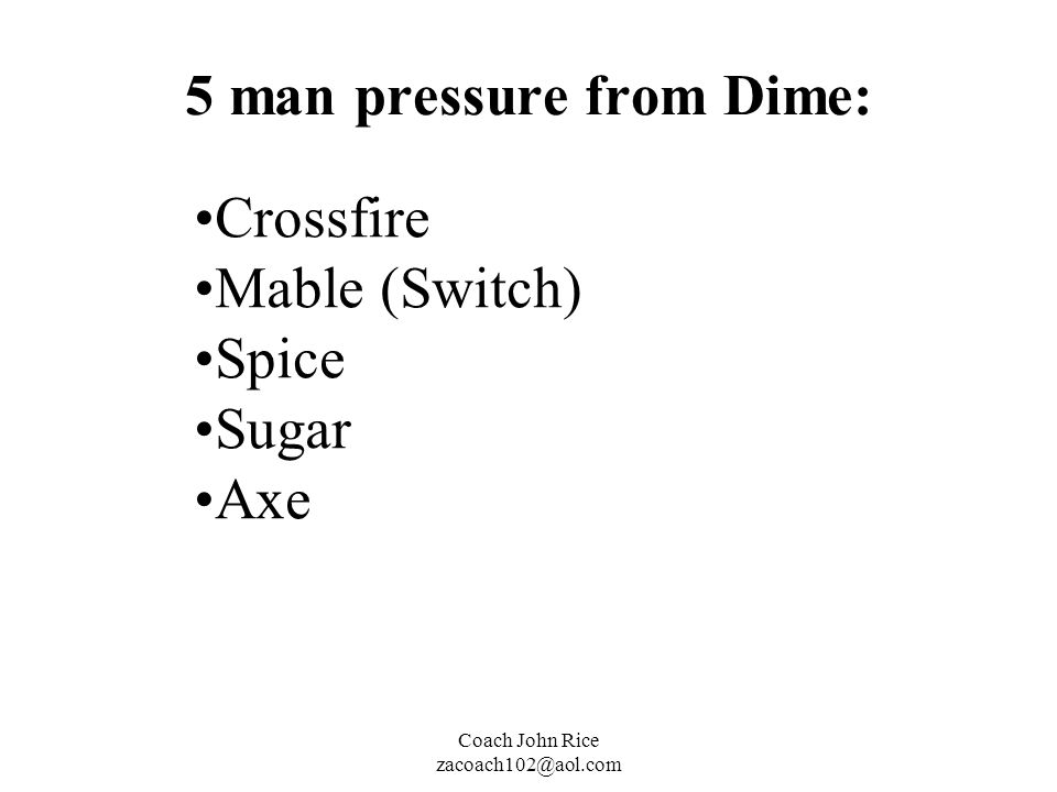 5 man pressure from Dime:
