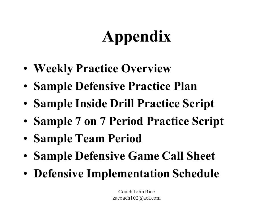 Appendix Weekly Practice Overview Sample Defensive Practice Plan