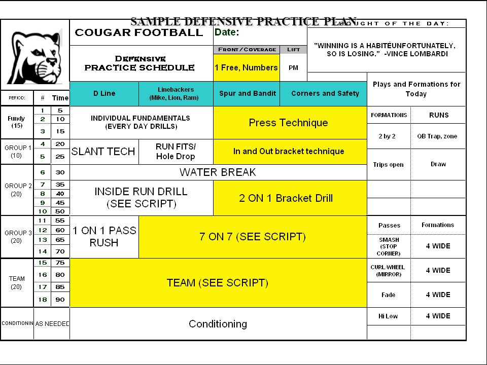 SAMPLE DEFENSIVE PRACTICE PLAN