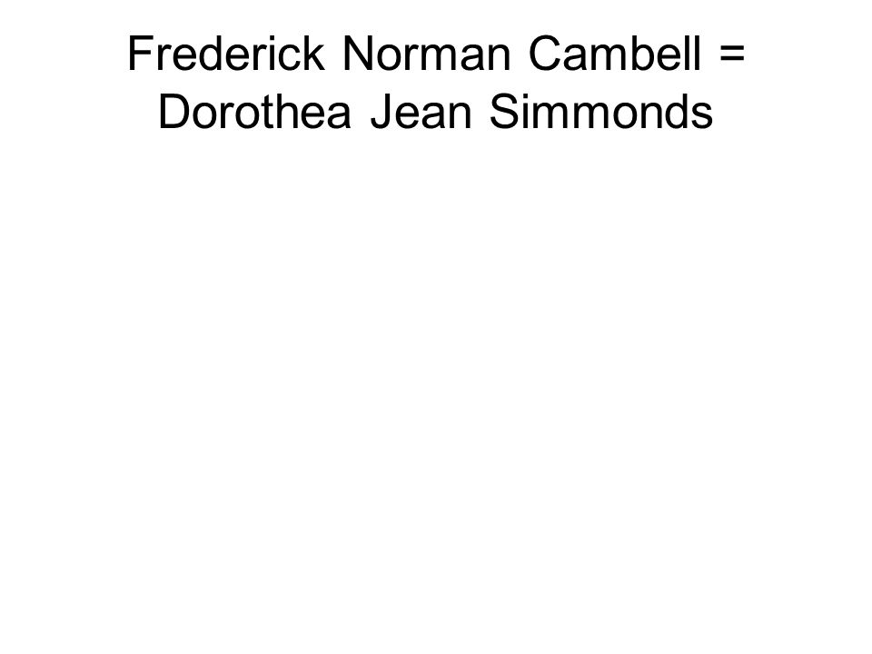 Frederick Norman Cambell = Dorothea Jean Simmonds