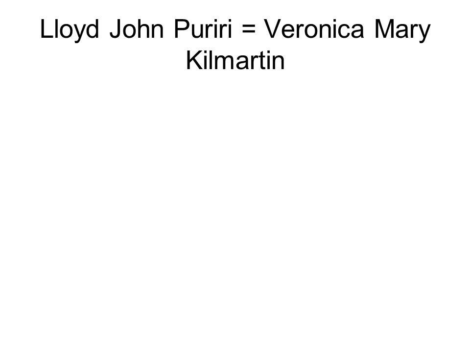 Lloyd John Puriri = Veronica Mary Kilmartin