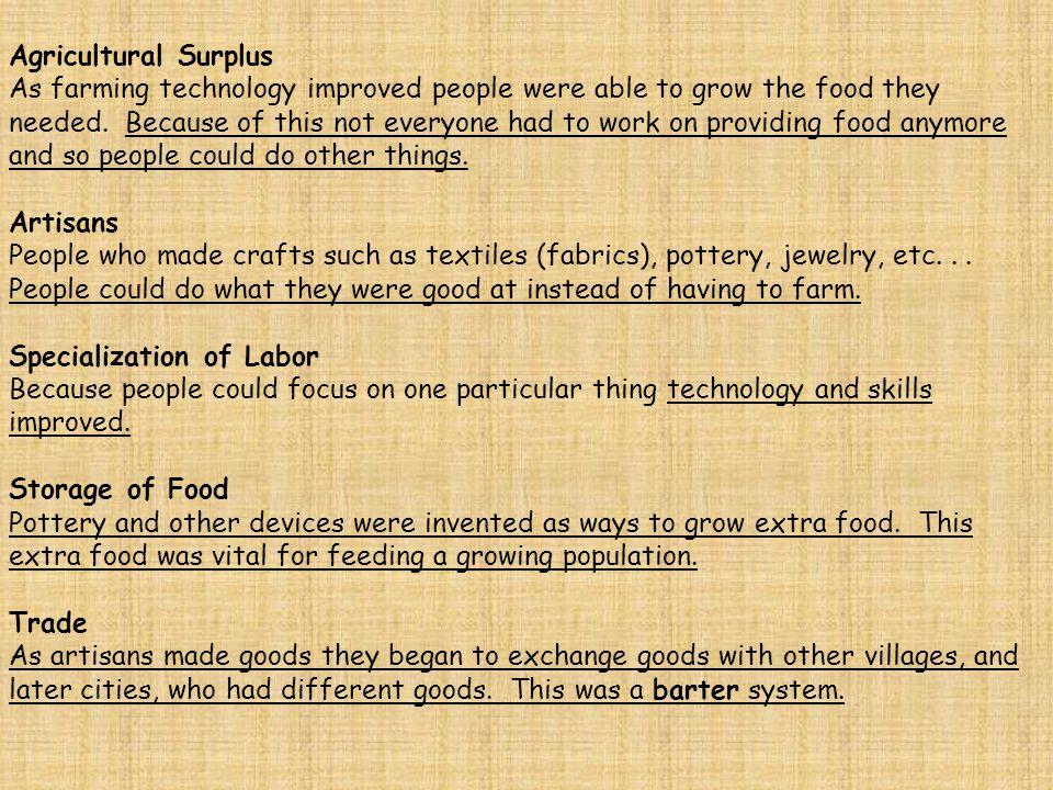 Agricultural Surplus