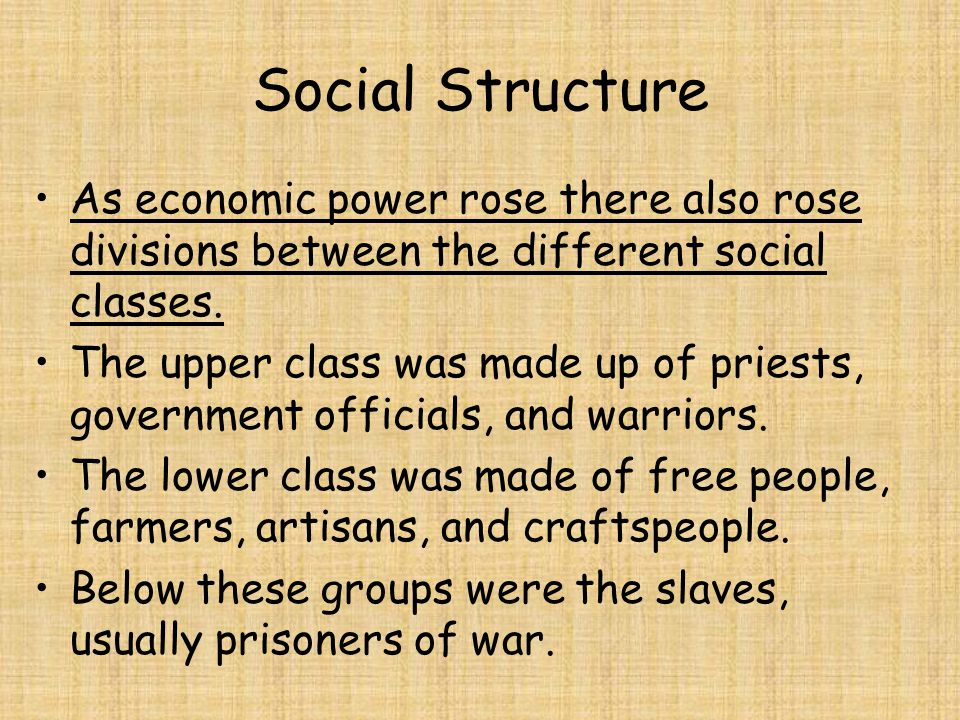 Social Structure As economic power rose there also rose divisions between the different social classes.