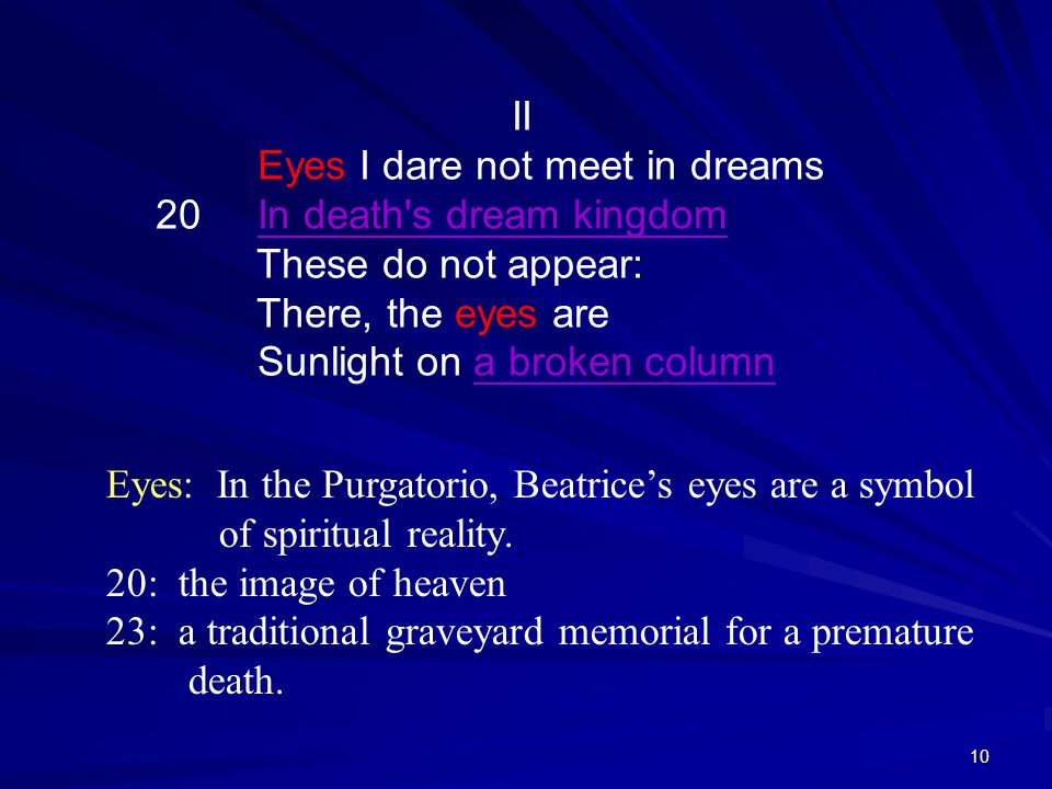 Eyes: In the Purgatorio, Beatrice's eyes are a symbol