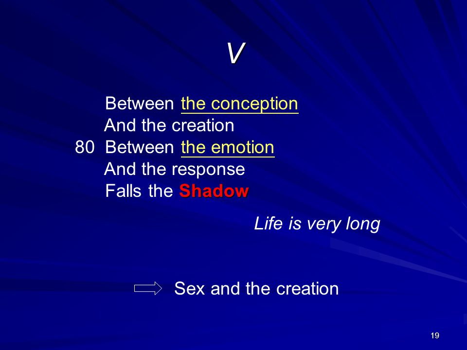 V Between the conception And the creation 80 Between the emotion And the response Falls the Shadow.