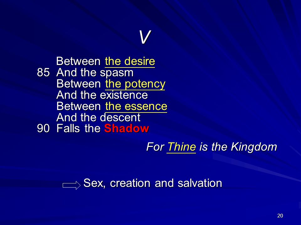 V For Thine is the Kingdom Sex, creation and salvation