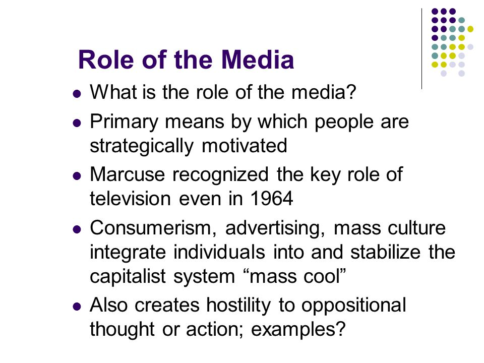 Role of the Media What is the role of the media