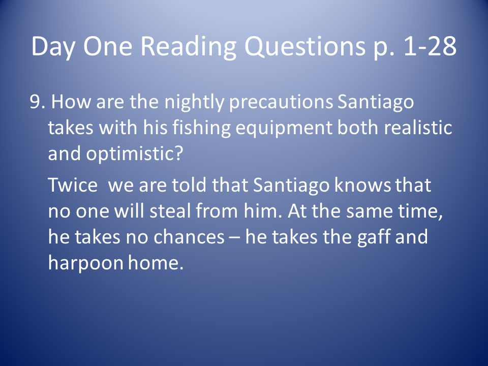 Day One Reading Questions p. 1-28