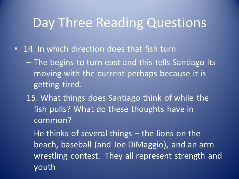 Day Three Reading Questions