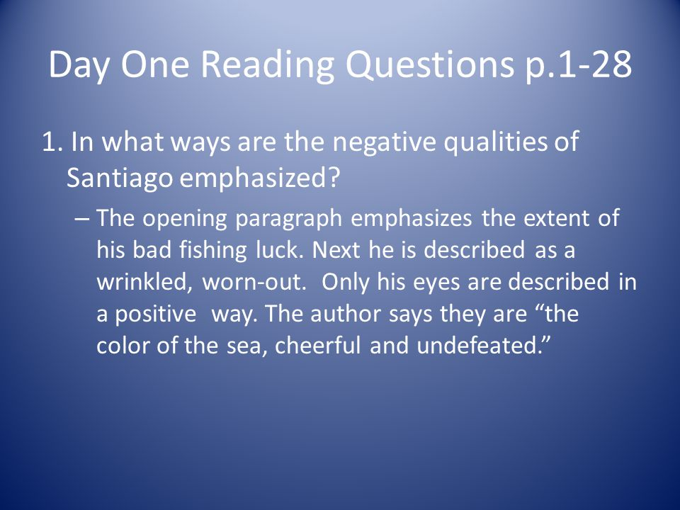 Day One Reading Questions p.1-28