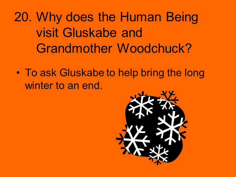 20. Why does the Human Being visit Gluskabe and Grandmother Woodchuck