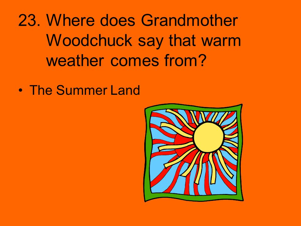 23. Where does Grandmother Woodchuck say that warm weather comes from