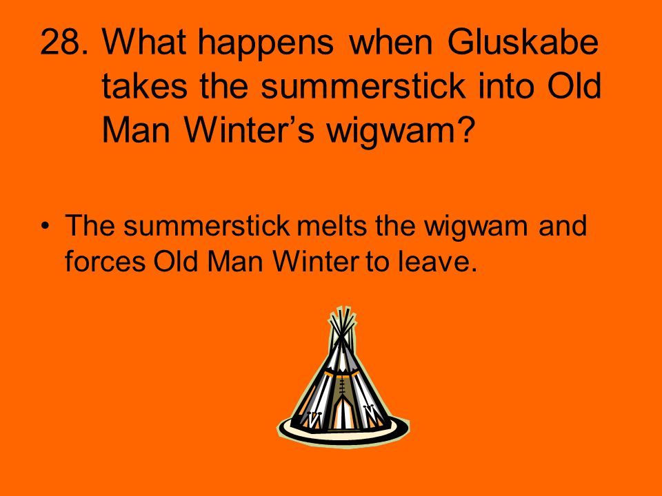 28. What happens when Gluskabe takes the summerstick into Old Man Winter's wigwam