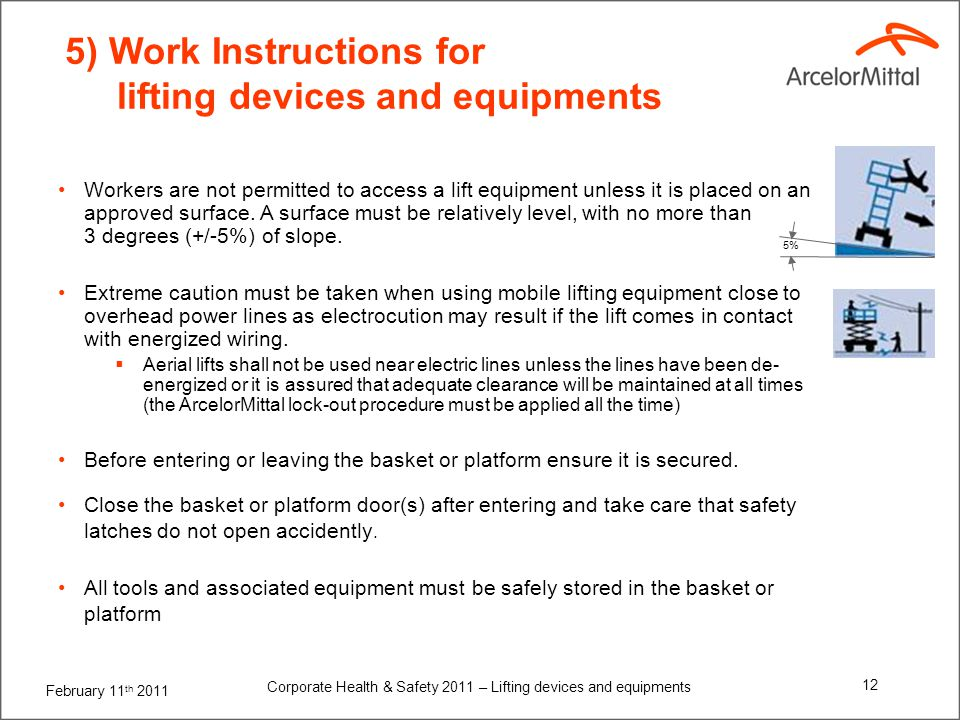 5) Work Instructions for lifting devices and equipments