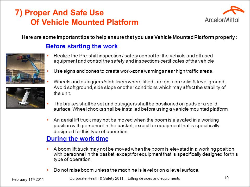 7) Proper And Safe Use Of Vehicle Mounted Platform