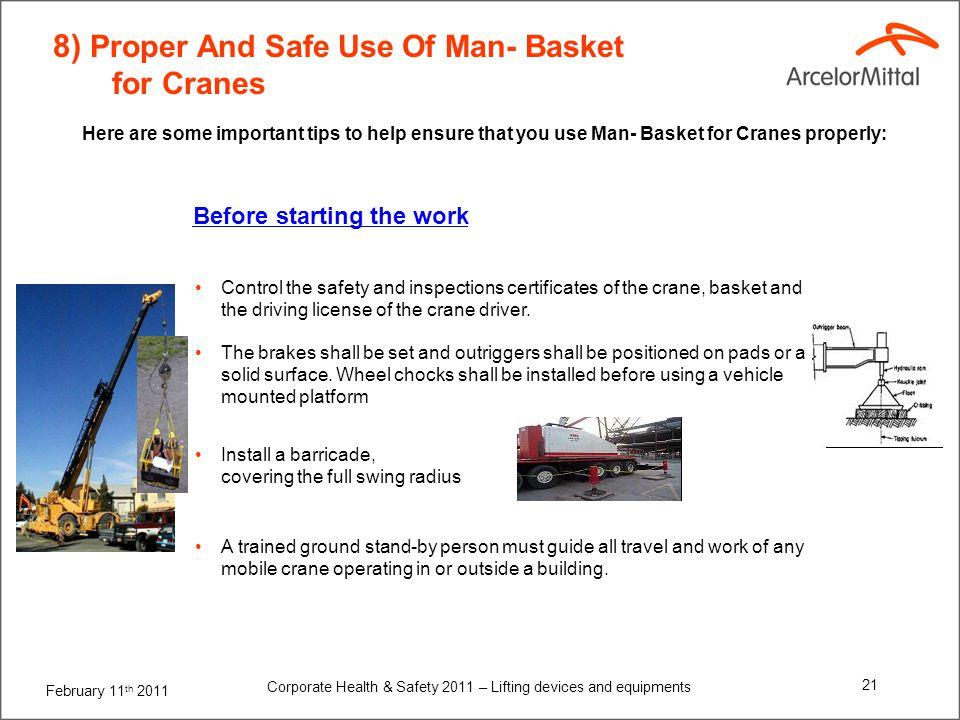8) Proper And Safe Use Of Man- Basket for Cranes