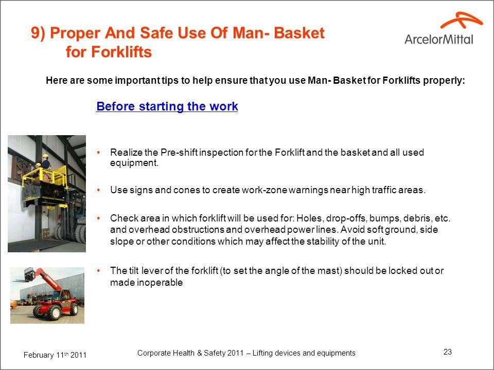 9) Proper And Safe Use Of Man- Basket for Forklifts