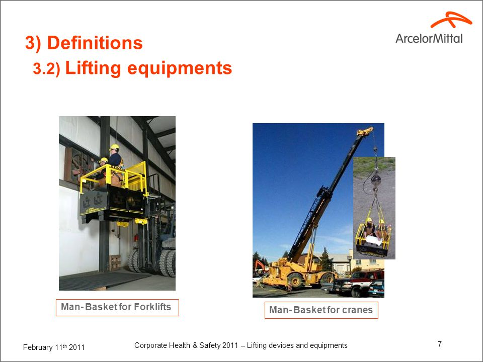 4) Specifications for lifting devices and equipments