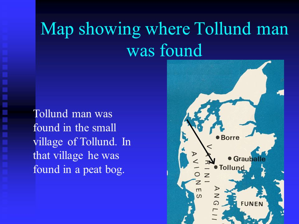 Map showing where Tollund man was found