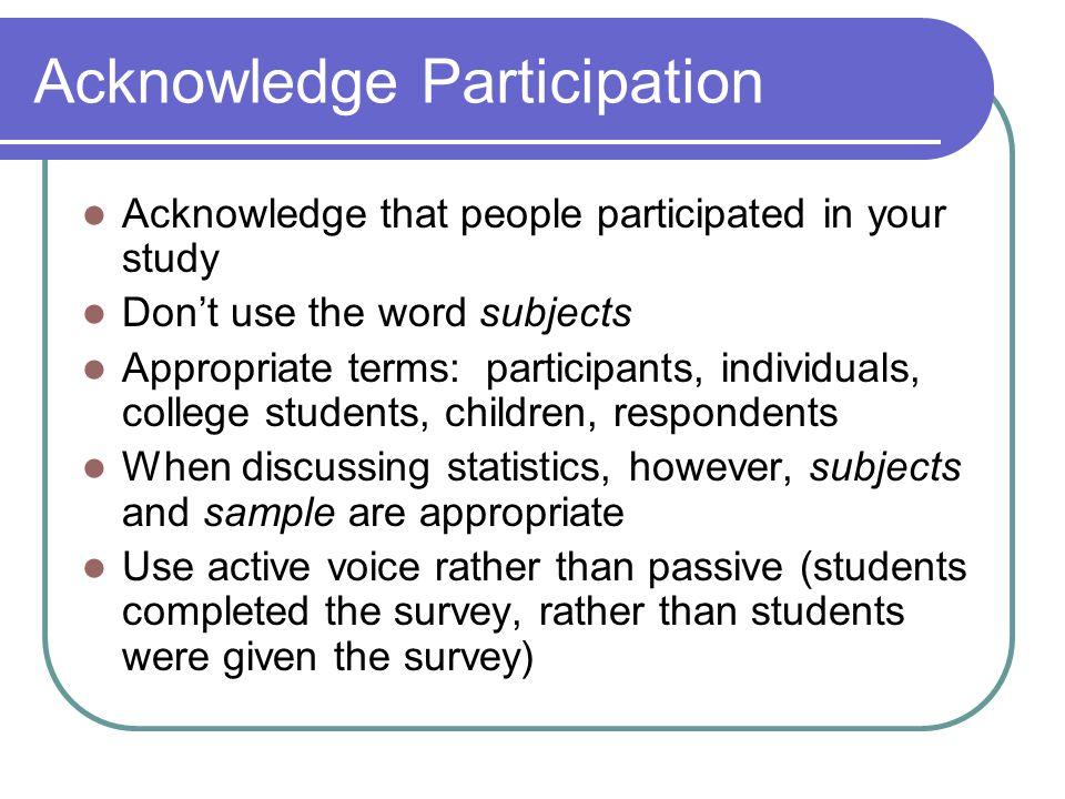 Acknowledge Participation